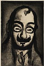 GEORGES ROUAULT, (French, 1871-1958), Homme a la Moustache Souriant, Aquatint, H 11½ x W 7½ inches.