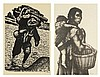 JESUS ORTIZ TAJONAR, (Mexican, 1919-1990), Man Carrying Wood Mother and Child, Woodblock engraving Lithograph, H 18 x W 12 inches  L...