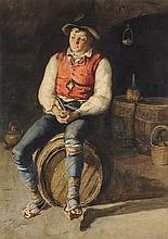 FRANCESCO RAFFAELO SANTORO, (Italian, 1844-1927), Young Man in a Wine Cellar, Watercolor on paper, H 21 x W 15 inches.