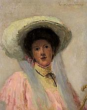 EURILDA LOOMIS FRANCE, (American, 1860-1931), Portrait of a Lady, Oil on canvas, H 21 x W 26 inches.