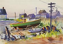 EUGENE DYCZKOWSKI, (American, 1899-1987), Boats, Watercolor on paper, H 21 x W 16 inches.