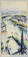 MANDEL, (20th century), Paris Panorame, Watercolor on paper, H 20¾ x W 10½ inches.