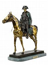 AFTER LOUIS MARIE MORISE, (French, 1818-1883), Napoleon Bonaparte on Horseback, Bronze on marble plinth, H 24 x W 10 x D 23¼ inches.