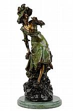 AFTER LOUIS ERNST HOTTOT, (French, 1834-1905), Girl with Binoculars, Bronze, H 23¾ x W 11½ x D 11 inches.