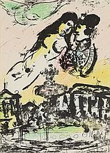 MARC CHAGALL, (French/Russian, 1887-1985), Le Ciel des Amoureux, 1957-62, Colored lithograph, H 12 x W 9 inches.