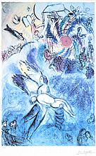 MARC CHAGALL, (French/Russian, 1887-1985), La Creation de l'Homme, 1956-58 Bible Series, image from 1931-36, Etching, hand colored o..