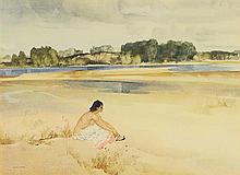 WILLIAM RUSSELL FLINT, (Scottish, 1880-1969), Anne Marie by the Loire, 1954, Lithograph, H 17 x W 23½ inches.