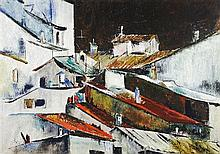 MARIE SCHLECHT, (American, born 1923), Roof of Portugal, Mixed media on paper, H 33½ x W 47½ inches.