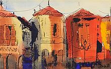 MARIE SCHLECHT, (American, born 1923), Houses, Watercolor and ink on paper, H 4½ x W 7 inches.