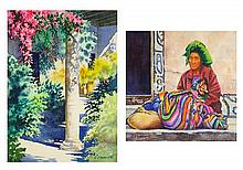 JOHN MASKEY, (American, Texas, born 1937), Fiesta Verde Vendedora de Chichicastemango, Watercolor on paper (two works), H 15 x W 11...
