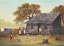 BARBARA MUSCATT, (American, 20th century), Southern Expression, New Orleans, 1981, Oil on board, H 8 x W 14 inches.