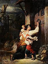 GIUSEPPI MAZZOLINI, (Italian, 1748-1839), Seeking Shelter, Oil on canvas, H 20 x W 16 inches.