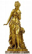 AFTER MATHURIN MOREAU, (French, 1822-1912), Venus, Gilt bronze on a marble base, H 19 x W 9½ x D 8 inches.