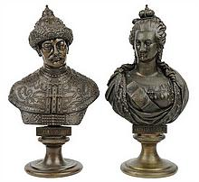 AFTER FELIX CHOPIN, (Russian, 1813-1892), Catherine the Great Aleksandr Mikhailovich , Bronze (two works), H 10¾ x W 6¼ x D 5½ inche...