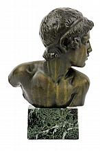 AFTER CONSTANT AMBROISE ROUX, (French, 1865-1929), The Child Achilles, Bronze, H 10 x W 6¾ x D 5 inches.