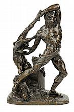 AFTER ANTONIO CANOVA, (Italian, 1757-1822), Hercules and Lichas, Bronze, H 16¾ x W 11¼ x D 8 inches.