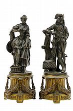CONTINENTAL SCHOOL, (19th century), The Hunt The Harvest, Bronze (two works), H 9¼ x W 3½ x D 3½ inches.