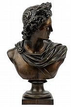 CONTINENTAL SCHOOL, (Early 20th century), Classical Style Bust of a Man, Bronze, H 13½ x W 8½ x D 6¼ inches.