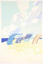 BARBARA NEWCOMB, (American/British, 20th century), Deck Chairs III, 1982, Colored etching with embossing, 33/150, H 23½ x W 16¼ inch...