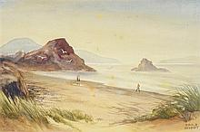 EWALD BERNDT, (American, 20th century), Beachscape, Watercolor on paper, H 14½ x W 21½ inches.