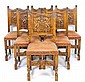 A SET OF SIX FRENCH NORMANDY STYLE SIDE CHAIRS WITH SHIELD AND DRAGONS