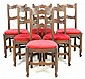 A SET OF SIX LOUIS XV STYLE SIDE CHAIRS WITH RED VELOUR SEATS