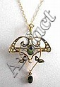EDWARDIAN PERIDOT AND SEED PEARL HOLBEIN with