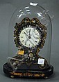 Victorian paper-mache inlaid with mother of pearl shelf clock under glass dome, ht. 9 1/2
