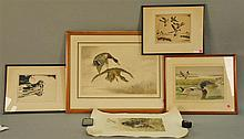 Five framed duck prints and etching including two Churchill Ettinger (1903-1984)  SUMMER DUCK and  PINTAILS, Rex Brasher print #132,...