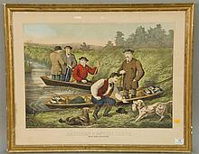 Thomas Kelly (1795-1841) AMERICAN HUNTING SCENE wild duck shooting color lithograph marked lower left Published and Print by Th. Kel...