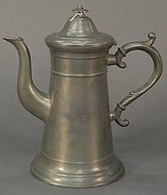 Pewter lighthouse style coffee pot, signed H. R. Ward.Rht. 11 in.R
