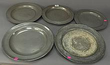 Five piece lot of pewter chargers.Rdia. 12 in. - 15 in.R