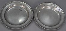 Pair of pewter plates, American, with mark of Thomas Danforth and Samuel Boardman.Rdia. 9 in.R