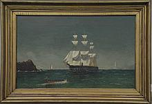 William Henry Coffin (1812-1898) ROWING TO THE SHIP FLYING AMERICAN FLAGS oil on canvas signed lower right W. H. Coffin 72R16