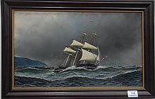 Antonio Nicolo Gasparao Jacobsen (1850-1921) AMERICAN CLIPPER SHIP oil on board signed lower right Antonio Jacobsen 19R11 3/4