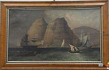19th Century painting SHIPS OFF COAST WITH CASTLE  oil on canvas unsigned label on verso Painted by Joseph Bryan Jr. circa 1854R21...