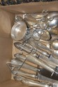 Box lot of sterling silver, 15 t oz. plus 8 handles along with box lot of silver plate.