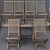Outdoor Classics teak oval table and six chairs, ht. 29in.; top: 39