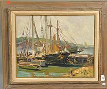 Maria Veronica Liszt (1902-1992)  SHIPS IN HARBOR  oil on canvas  signed lower right Liszt 16