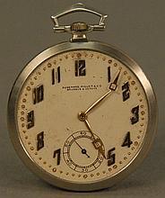 Audemars Piguet & Co. platinum pocket watch, 19 jewel, no crystal, dial marked Audemars Piguet Brassus & Geneve.