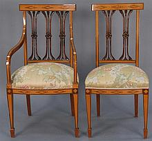 Set of ten satinwood and mahogany dining chairs, each with carved backs and silk upholstered seats on inlaid frames with square tape...