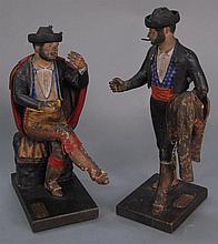 Jose Cubera  pair of Spanish polychrome earthenware figures  having label