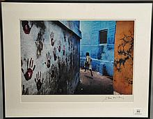 Steve McCurry BOY IN MID-FLIGHT INDIA chromogenic print signed lower right in marker Steve McCurry label on verso From the Studio of...
