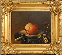Alexander M. Mclean (1823)  STILL LIFE  cut apple with flowers and glass of wine  oil on board  signed lower right A.M. Mcle...