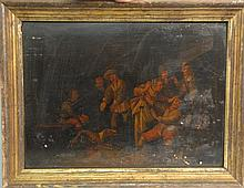 Interior Scene  PLAYING GAMES  oil on chestnut panel  unsigned  17th/18th century  11 1/2