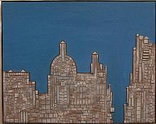 Leon Bibel (1912-1995) THE OLD CITY oil on canvas with wood signed bottom center Bibel 41