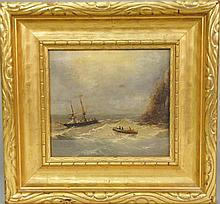 Circle of Ivan Konstantinovich Aivazovsky (1817-1900)  SURVIVORS OF SHIPWRECK  oil on canvas mounted on wood panel  marked low...