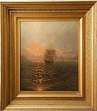 Circle of Ivan Konstantinovich Aivazovsky (1817-1900)  SUNSET SHIP RETURNING  oil on canvas  marked lower right Aivazovsky  ...