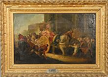 EMPRESS COMING HOME  on chariot being pulled by an elephant having people with flowers, grapes, lions, and instruments  oil on c...
