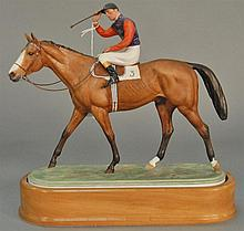 Royal Worcester horse and jockey on wood base, marked on bottom
